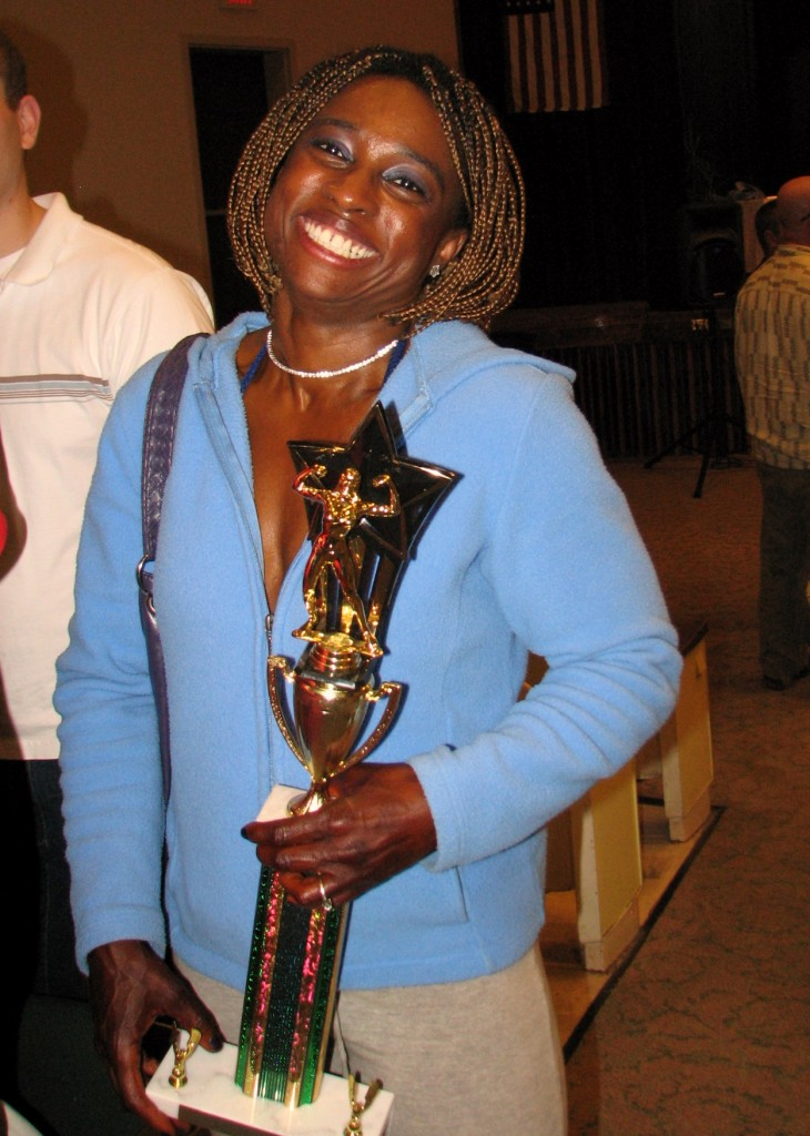 Nichelle with her trophy at the 2009 Granite State Open Bodybuilding Championship