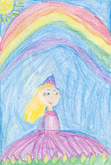 This freehand drawing is another during-small-group creation. I love that she always gets the color orders in the rainbow correct.