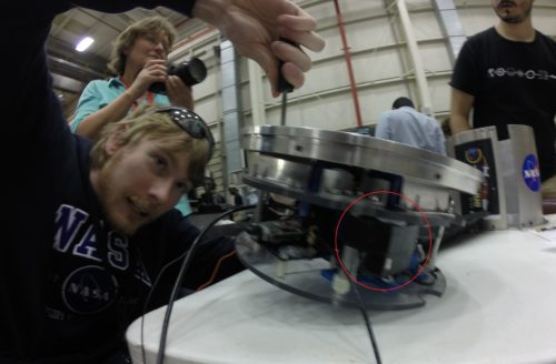 Here's the recovered payload module, showing where my guys were attached in their Crew Module.