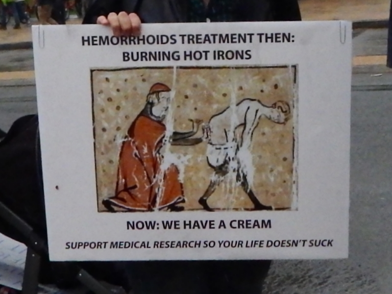 Hemorrhoids treatment then: Burning hot irons. Now: We have a cream. Support medical research so your life doesn't suck.