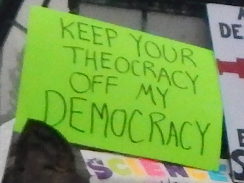 Keep Your Theocracy Off My Democracy (I'm not sure what to make of this, but, for documentary purposes, here it is.)