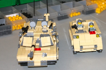 Lego tank and APC, designed and built by Andrew Roberts.