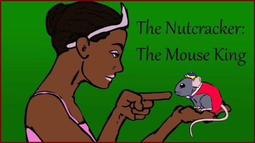 A black, female ballerina holds an accurately-sized Mouse King in her hand.