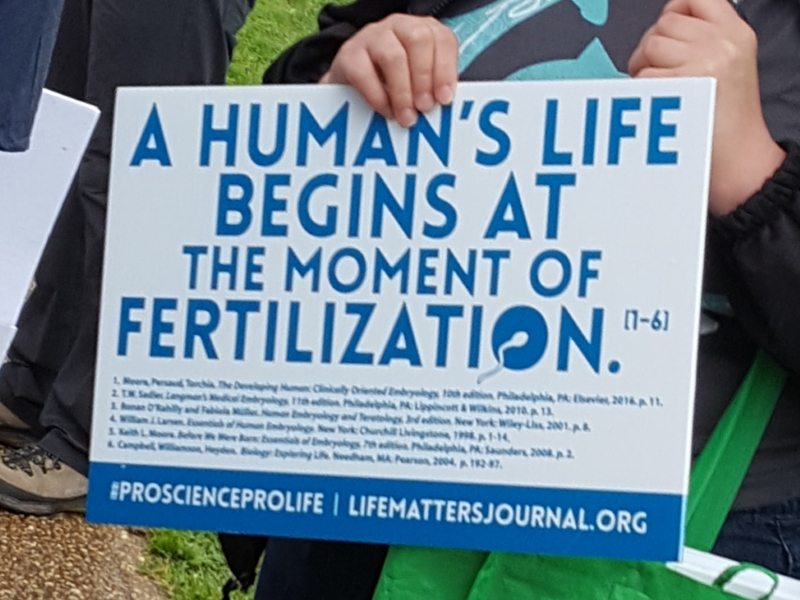 Human Life Begins at the Moment of Fertilization (One of a few somewhat off-topic signs, but one I can agree with.)