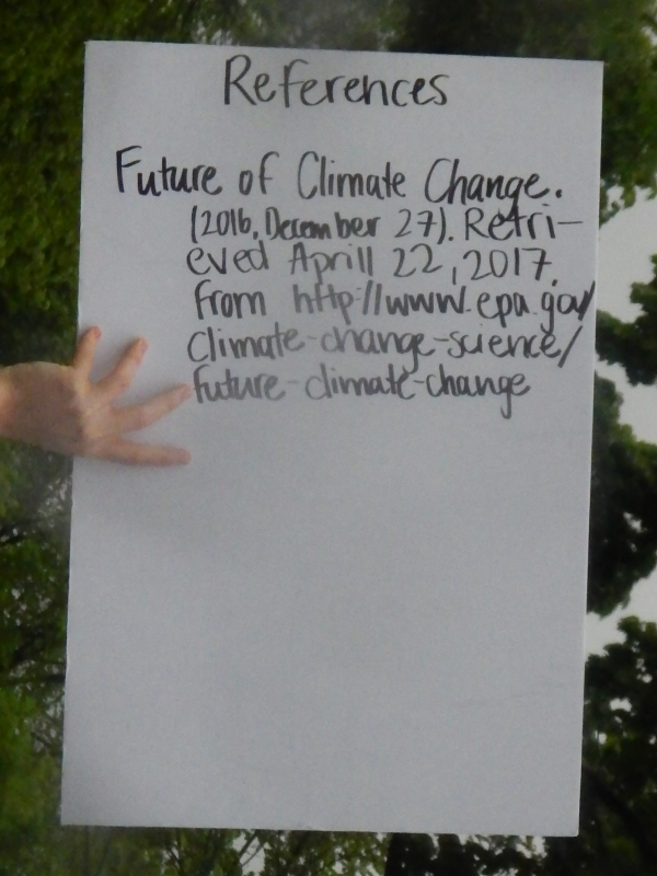 References. Future of Climate Change. (2016, December 27). Retrieved April 22, 2017, from http://www.epa.gov/climate-change/science/future-climate-change.